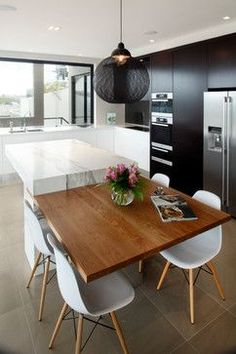 New Kitchen Island Table Extension Woods Ideas Kitchen Island Bench, Kitchen Benches, Kitchen Islands, Island Bar, Island Chairs, Kitchen Booths, Kitchen Island With Table Attached, Marble Island, Kitchen Island Extension Ideas