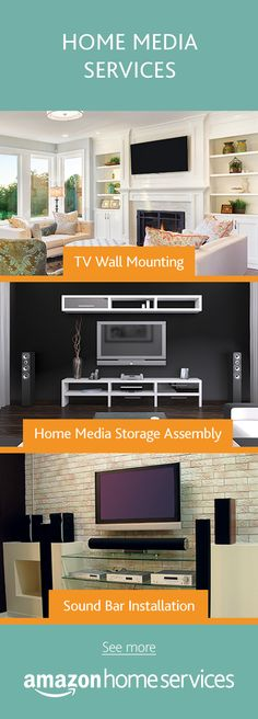 Shiny new TV? Get it professionally wall mounted. Don't forget to complete your home media set-up with sound bar installation and media storage assembly.  Hire a top-rated service provider directly on Amazon.