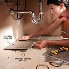 Peel and stick tiles under the sink. Looks clean and is easy to wipe the surface. - Click image to find more home decor Pinterest pins
