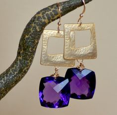 Deep Purple Amethyst Squares Gold Earrings.  February Birthstone Raindrops Jewelry, $64.00