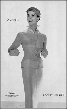 Model in elegant suit by Carven, photo by Guy Arsac, 1956
