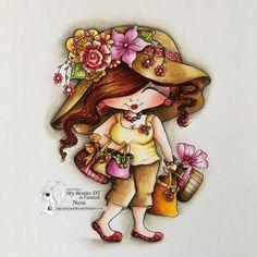 Fluffy Bestie/ Sherri Baldy/ shopping/ digi/ stamp/ Polychromos pencils/ Ness Butler/
