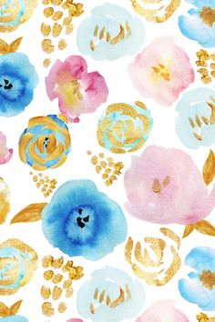 Garden Pattern by holaholga - Beautiful hand painted florals in shades of blue and pink with gold accents on fabric, wallpaper, and gift wrap. Abstract floral pattern perfect or home decor or wedding favors! #surfacedesign #floral #weddingfloral #watercolor