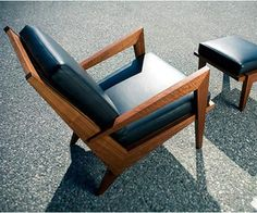 """The """"Boomerang Chair"""" was designed by Kurt Dexel founder of """"Dexel Crafted"""", he designs beautiful, clean, and modern crafted furniture. This chair is a marvel of sharp lines and angles, crafted from black walnut, eastern maple, and leather."""