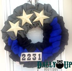 Police Burlap Wreath - Black,Blue and Gray Burlap Wreath, Rustic Wreath, Law Enforcement Wreath, Blue Line Wreath by DallyUpBoutique on Etsy https://www.etsy.com/listing/226346636/police-burlap-wreath-blackblue-and-gray