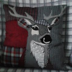 Patchwork+appliqued+Stag+Cushion.+by+PaddyMacDesigns+on+Etsy