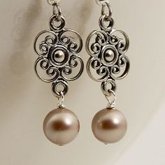 Platinum pearl earrings