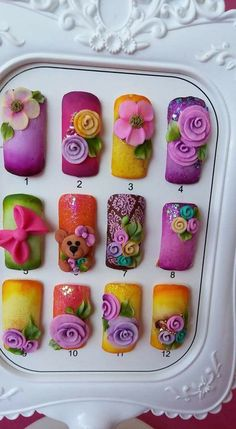 Nail Art That Will Help You Rock 2020 in 2020 (With images) 3d Nail Art, 3d Acrylic Nails, 3d Art, Stiletto Nail Art, Pastel Nails, Nail Art Hacks, 3d Nails, Sparkle Nail Designs, 3d Nail Designs