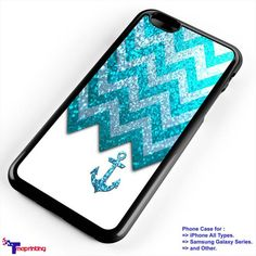 Anchor Nautical Navy Sparkly Chevron Pattern - Personalized iPhone 7 Case, iPhone 6/6S Plus, 5 5S SE, 7S Plus, Samsung Galaxy S5 S6 S7 S8 Case, and Other
