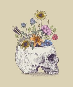 Rachel Caldwell 'Half Skull Flowers' Canvas Art - 35 x 47 Rachel Caldwell 'Half Skull Flowers' Canvas Art - 35 Kunst Inspo, Art Inspo, Art And Illustration, Landscape Illustration, Flower Canvas, Flower Art, Skull Flowers, Draw Flowers, Skull Drawing With Flowers