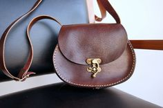 Leather small oval messenger bag chocolate brown by GalenUnique, $39.00