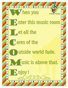 Welcome back poster for Music Rooms