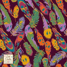 """PRESALE Kingfisher Feathers on Rhododendron Cotton Jersey Blend Knit Fabric - Exclusive from the Girl Charlee Kingfisher collection!  Gorgeous multi color feathers in mustard, orchid purple, orange, sangria, teal blue, and forest green with a rhododendro, deep wine,  color background on our signature cotton jersey blend knit.  Fabric is very soft and has a nice stretch and drape.  Largest feather measures about 6"""" long.  A versatile fabric that is great for many applications.  Made in Los…"""