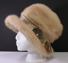 genuine fur dress hat womens small blonde sable mink winter vintage holly golightly on Etsy, $69.99
