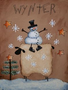 primitive painted snowmen | Primitive Snowman and Sheep painting Hand by jennysfolkart, $6.99