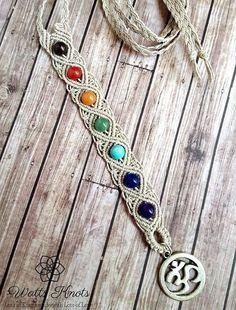 nice Natural Hemp Chakra Gemstone Necklace, Balance Necklace, Harmony Jewelry, Chakra Jewelry, Hemp, Yoga, Om, Aura, Energy, Healing Crystals