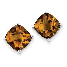 Sterling Silver Whiskey Quartz Earrings QE9809WQ