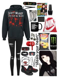 """I'm a killing spree in white, eyes like broken Christmas lights."" by xxghostlygracexx ❤ liked on Polyvore featuring Topshop, Converse, Marvel, BOBBY, NIKE, Beats by Dr. Dre, OPI and Givenchy"