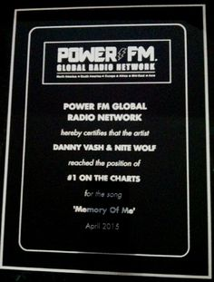 Danny Vash & Nite Wolf song 'Memory of Me' #1 on POWER FM GLOBAL RADIO NETWORK Charts! North America, South America, Europe, Africa, Mid-East & Asia