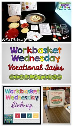 Vocational Tasks great for all ages for life skills that can be used in structured work systems: Workbasket Wednesday.  Autism Classroom Resources