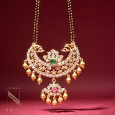 Diamond Mangalsutra from Nikitha - Latest Indian Jewellery Designs wedding jewellery Diamond Mangalsutra from Nikitha Diamond Mangalsutra, Gold Mangalsutra Designs, Gold Earrings Designs, Gold Jewellery Design, Necklace Designs, Emerald Jewelry, Beaded Jewelry, Chain Jewelry, Diamond Jewelry