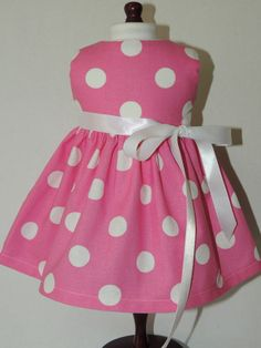 "PINK AND WHITE POLKA DOT DRESS FITS AMERICAN GIRL 18"" DOLLS"