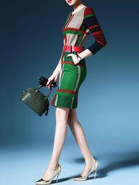 Color-block Cashmere Sweater Mini Dress