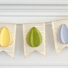 How to make a simple Easter Egg Banner with book pages and colored paper. Includes free pattern!