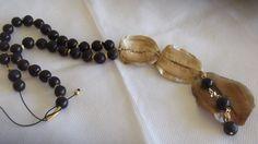 Colar longo regulável em casca de jacarandá Mimoso e sementes de saboneteira