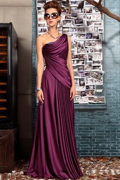 Fashion Purple One Shoulder Embroidery Long Evening Dress Banquet Party Dress Formal Dress,<3!