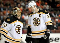 ANAHEIM, CA - FEBRUARY 22: Tuukka Rask #40 talks with Zdeno Chara #33 of the Boston Bruins during the third period of a game against the Anaheim Ducks at Honda Center on February 22, 2017 in Anaheim, California. (Photo by Sean M. Haffey/Getty Images)