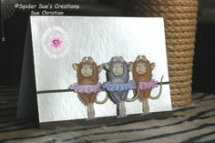 """Next time I do this card (it is actually one of my own), I would put some real sparkle on the tutu's & I would probably have a ceiling. I think there is too much of a """"mirrored"""" surface."""