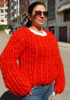Exclusive Red Extra Chunky Longhair mohair sweater L XL XXL by LanaKnittings #Handmade #Crewneck