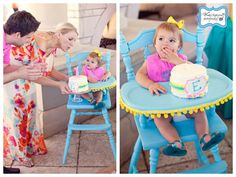 so cute to paint an old wooden high chair...also, to remove the top layer instead of having kid try to blow out candles on top of huge cake