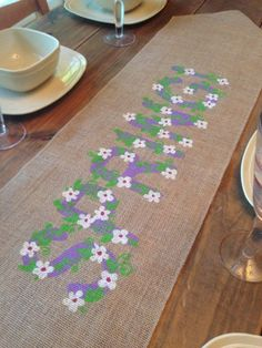 """Burlap Table Runner  12"""", 14"""" or 15"""" wide with Spring & flower vines in the center by CreativePlaces on Etsy"""
