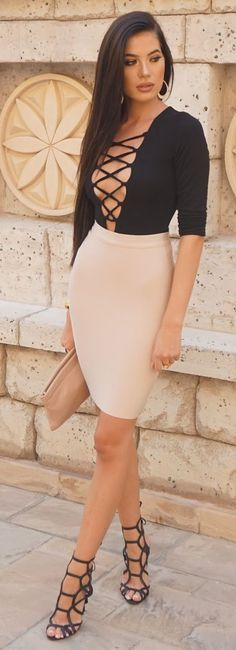 body suit: The Kript // pencil skirt: Eschel // heels: Schutz