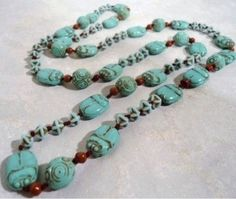 Blue Egyptian Scarab Bead Necklace Probably Neiger Bros Workshop c1923