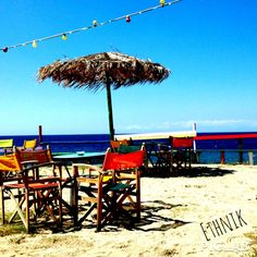 Ethnik beach bar.. Tristinika beach..Chalkidiki... Greece