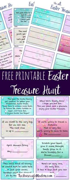 Free Printable Easter Treasure Hunt. 24 mix-and-match clues plus a page of blanks to make up your own! Great fun for the kids.