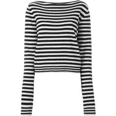 Haider Ackermann Striped Jumper ($709) ❤ liked on Polyvore featuring tops, sweaters, black, striped sweater, jumpers sweaters, jumper top, striped top and striped jumpers