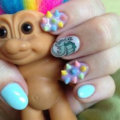 rainbow nail spikes are now on. 3d Nails, Cute Nails, Chasing Unicorns, Nail Pops, Rainbow Nails, Square Nails, Nail Art Hacks, Nail Art Galleries, Cool Nail Designs