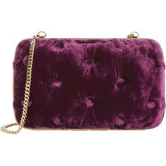 Carmen Tufted Velvet Clutch ($740) ❤ liked on Polyvore featuring bags, handbags, clutches, red, chain strap handbag, purple purse, chain handle handbags, velvet purse and chain strap purse
