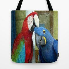 Red and Blue Macaws Tapestry Print Tote Bag by Celeste Sheffey - $22.00  #fashion