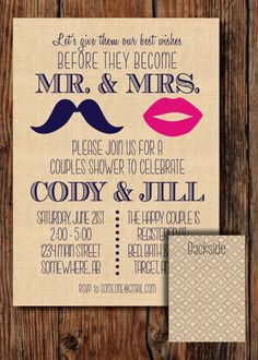 Mustache/Lips Couples Wedding Shower Invitation - Digital Download File - DIY Printing. Only $15.00 on Etsy :)