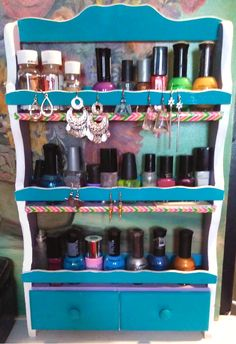 Re-purposed wooden kitchen spice rack into a shelf that holds nail polish perfectly. Upcycled Spice Rack, Kitchen Spice Racks, Arts And Crafts, Diy Crafts, A Shelf, Wooden Kitchen, Reuse, Thrifting, Repurposed