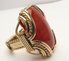 Handmade 14kt Gold Filled Wire Wrap Red Carnelian by JandSGems