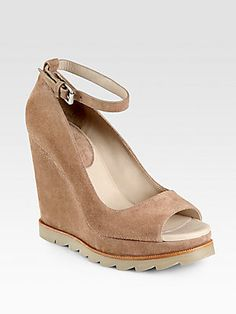 Brunello Cucinelli Suede Ankle Strap Wedge Pumps~ Sooo COMFY!