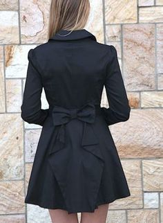 Black Long Sleeve Trench Coat w/ Bow Back & Skater Skirt,  Outerwear, black  coat  bow  trench  jacket  chic, Chic
