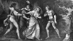 Cena da peça 'Os Dois Cavalheiros de Verona' em gravura de Luigi Schiavonetti, da década de 1800 (Crédito: Spencer Arnold/Getty Images)