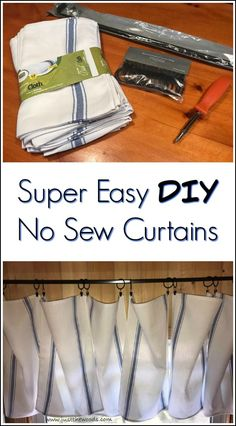 Super easy no sew curtains project. DIY window treatments with a few simple steps for adorable dishtowel curtains.
